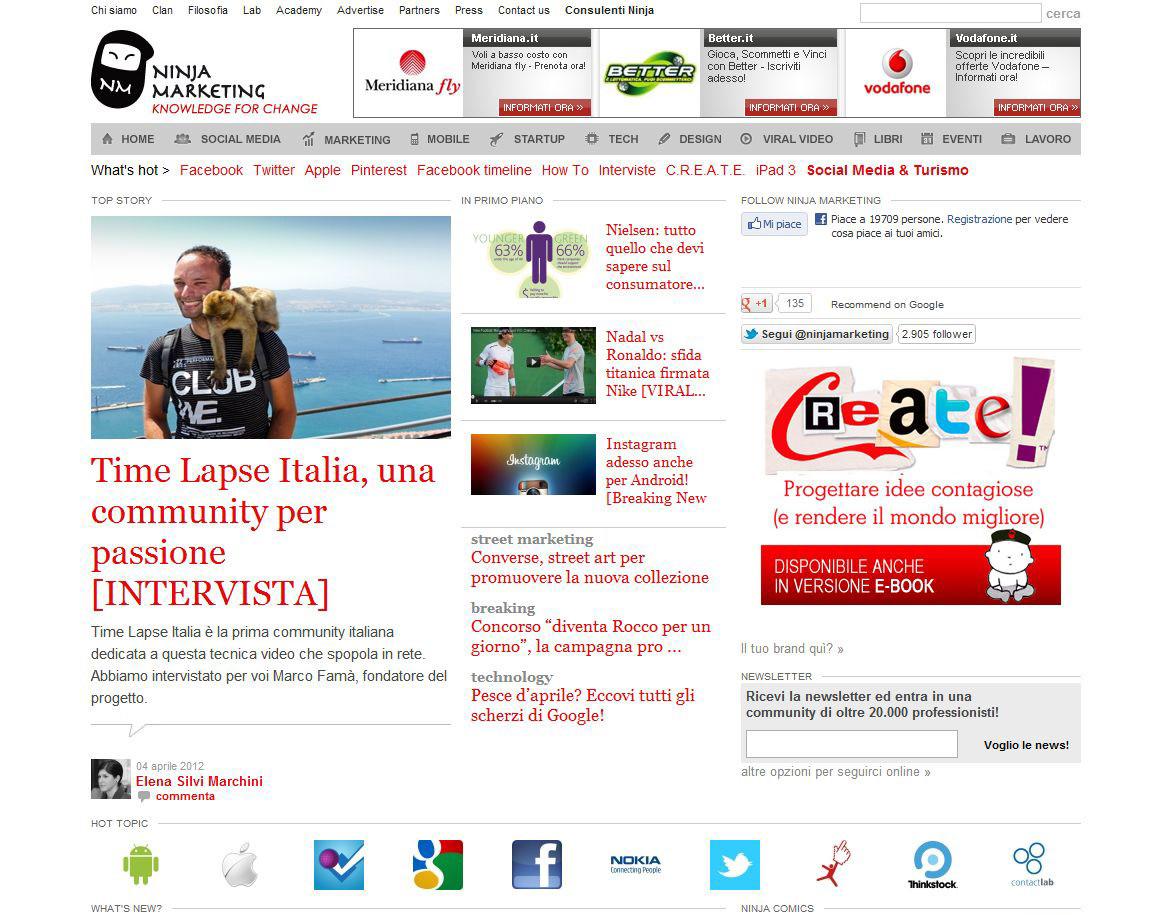 Time Lapse Italia sulle pagine del grande portale Ninja Marketing